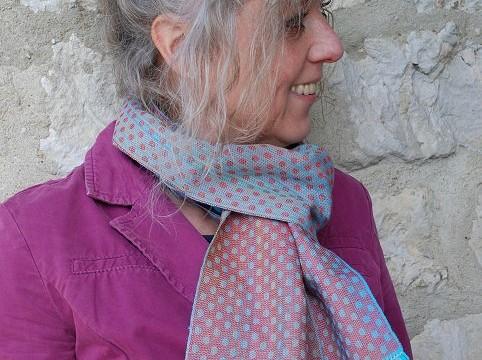 Weefpakket sjaal 0012 Dotts rood-turquoise