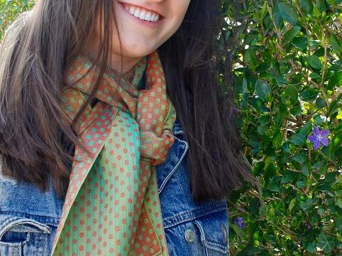 Weefpakket sjaal 0012 Dotts rood-groen