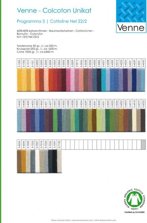 Staalkaart Bio Cottoline Nel 22/2 - Nm 13/2